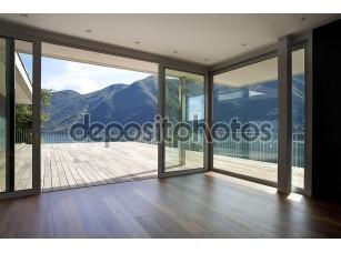 Фотообои «Красивый пентхаус с большим окном и видом на горы»
