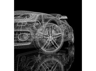 Фотообои «3d модель автомобиля на черном фоне»