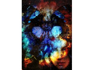 Фотообои «Beautiful Painting Goddess Woman and butterfly. Color space background and stars.»