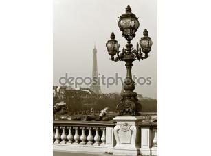 Фотообои «Фонарь на мосту Париже»