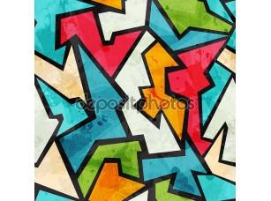 Фотообои «Граффити мозаика бесшовный паттерн с гранж эффект»