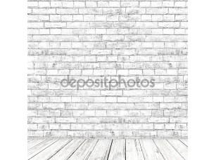 Фотообои «Белый кирпич стены номер с деревянным полом как фон»