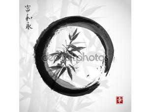 Фотообои «Bamboo trees in black circle»