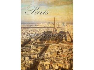 Фотообои «Птичьего полета города Париж, Франция, в старинном стиле выглядеть»