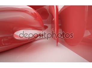 Фотообои «Абстрактные интерьер с глянцевой красной скульптура»