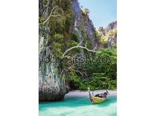 Фотообои «Traditional longtail boats in the famous Maya bay of Phi-phi Leh»