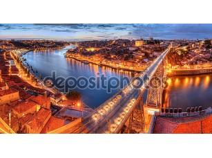 Фотообои «Porto, river Duoro and bridge at night»
