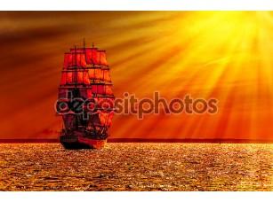 Фотообои «Sailing ship on the sea»