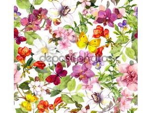 Фотообои «Vintage flowers and butterflies. Retro floral pattern. Watercolor»