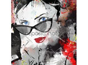 Фотообои «Fashion girl in sketch-style.»