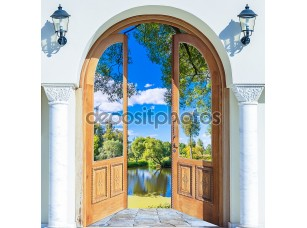 Фотообои «Arch door open pond»