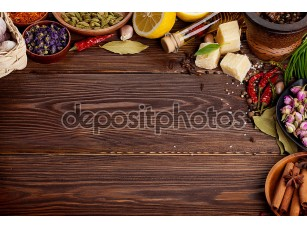 Фотообои «Various spices on wooden background»