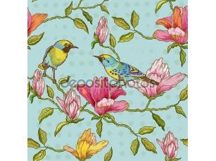 Фотообои «Vintage Seamless Background - Flowers and  Birds»