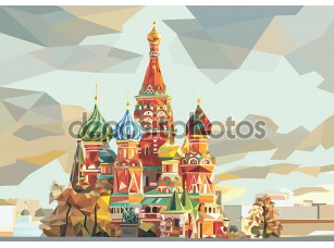 Фотообои «St. Basil's Cathedral  on the red square in Moscow Russia»