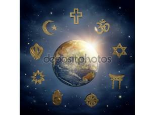 Фотообои «Земля и религиозные символы»