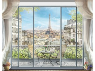 Фотообои «Вид на балкон и Эйфелеву башню»