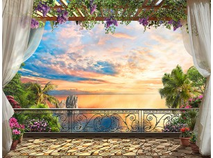 Фотообои «Вид на закат с балкона на юге»