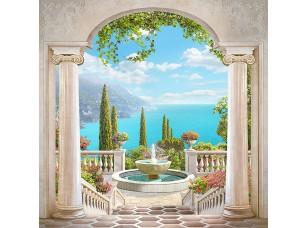 Фотообои «Арка с колоннами с видом на море»