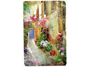 Фотообои «Живописные дворики Греции-произведения искусства в стиле ретро живописи»