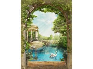Фотообои «Вид из арки на озеро с лебедем»