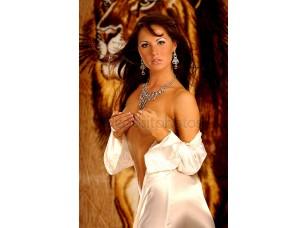 Фотообои «Атласное одеяние - серебряные украшения - знойная брюнетка»