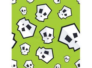 Фотообои «Бесшовный узор вектор с смешной мультфильм череп. Шаблон для Хэллоуина»