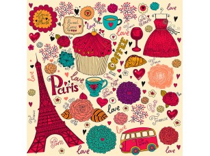 Фотообои «Векторный набор символов Парижа»