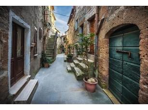 Фотообои «Весенние улицы Старого города Тосканы. Красочные цветы Блум и ароматные»