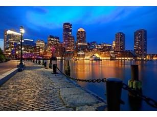 Фотообои «Бостон закат skyline в вентилятор Пирс Массачусетс»