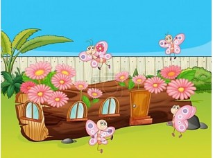 Фотообои «Бабочки и деревянный дом»