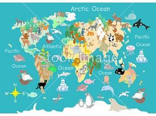 Фотообои «Flat  World  animals cartoonish  kids  map»