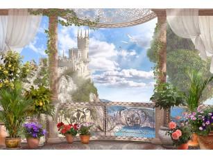 Фотообои «Балкон с видом на замок»