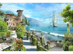 Фотообои «Городок у залива и парусник»