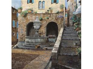 Фотообои «Улочка с фонтаном и лестницей»