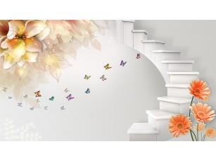 Фотообои «3D лестница и цветы»