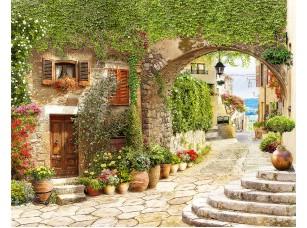 Фотообои «Старинная улочка с цветочными горшками»