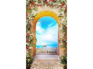 Фотообои «Арка в цветах с видом на парусник»