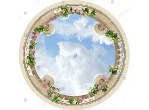 Фотообои «Баллюстрада вид снизу с шарами»