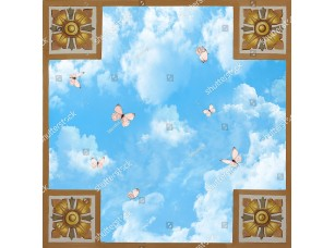 Фотообои «4 квадрата с узором с небом и бабочками»