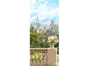 Фотообои «Ваза с цветами на балюстраде на фоне замков»