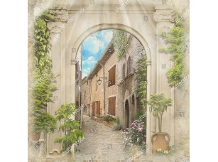 Фотообои «Старая улочка сквозь арку»