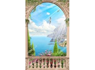 Фотообои «Вид из арочной террасы на залив»