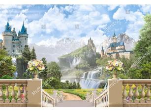 Фотообои «Вид с лестницы на два замка»