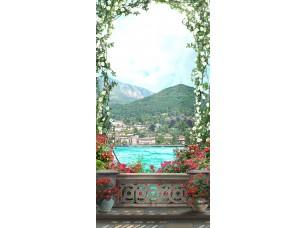 Фотообои «Арка из цветов на террасе»