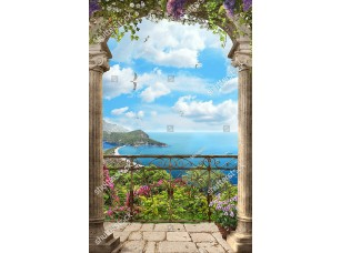 Фотообои «Арка с высокой решеткой с цветами»
