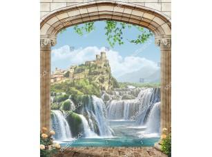 Фотообои «Вид из арки на гору с замком»