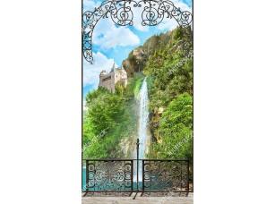 Фотообои «Вид на водопад и замок сквозь ажурную решетку террасы»
