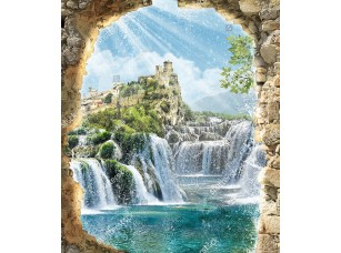 Фотообои «Дорога из водопадов к замку»