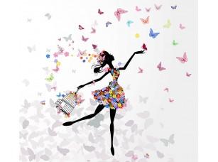 Фотообои «Девочка и бабочки»