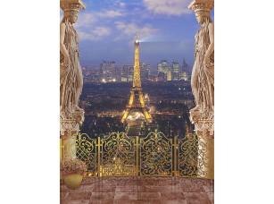 Фотообои «Вид с балкона на ночной Париж и Эйфелеву башню»